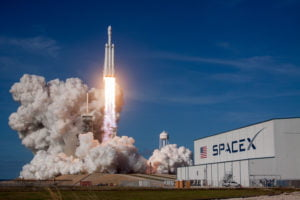 SpaceX rocket carrying Starlink satellites takes off.